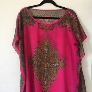 Sheer swim suit cover up